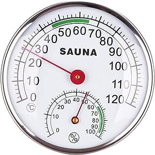 FLAMEER Hygromètre de Thermomètre Analogique de Boîtier En Métal de 4.9inch pour Le Hammam de Salle de Sauna