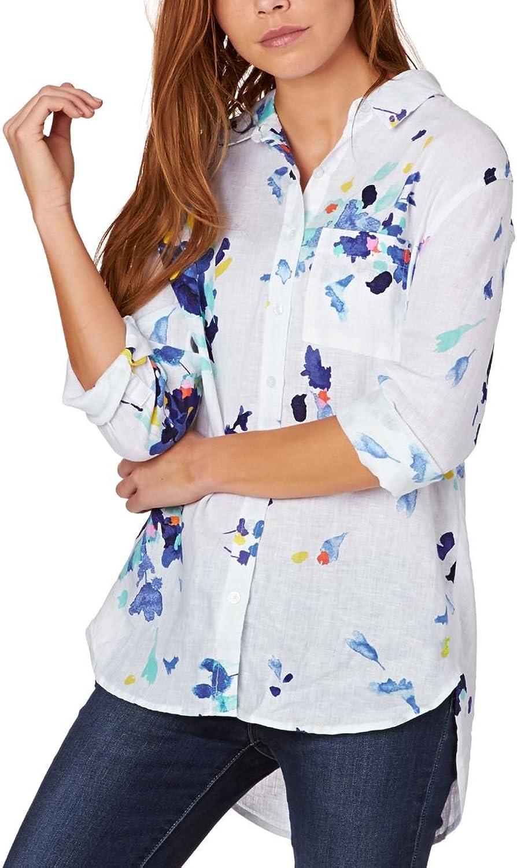 Joules Jeanne Printed Linen Longline Shirt