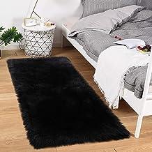 Noahas Luxury Fluffy Rugs Bedroom Furry Carpet Bedside Sheepskin Area Rugs Children Play Princess Room Decor Rug, 2ft x 4ft Black