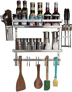 Étagères de Cuisine Organisateur Fournitures de Cuisine Supports de Rangement étagères de Rangement Mural en Acier Inoxydable