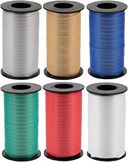 6-Color Pack - White, Silver, Gold, Red, Emerald & Royal Blue - Berwick Splendorette Crimped Curling Ribbon - 500 yards each
