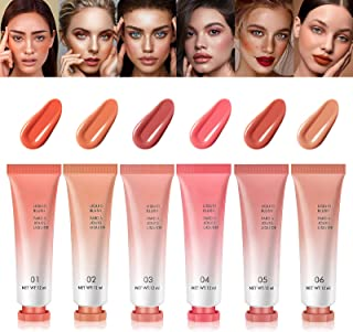 [6 Pack] LSxia Liquid Blush Makeup Gifts for Women, Natural Looking Breathable Feel Cream Blush Lightweight Blusher and Bl...