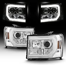 For 2007-2014 GMC Sierra 1500 2500 3500 LED Light Tube Chrome Projector Headlight Driver + Passenger