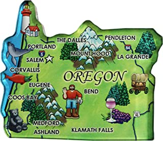Flagline Oregon - Acrylic State Map Refrigerator Magnet