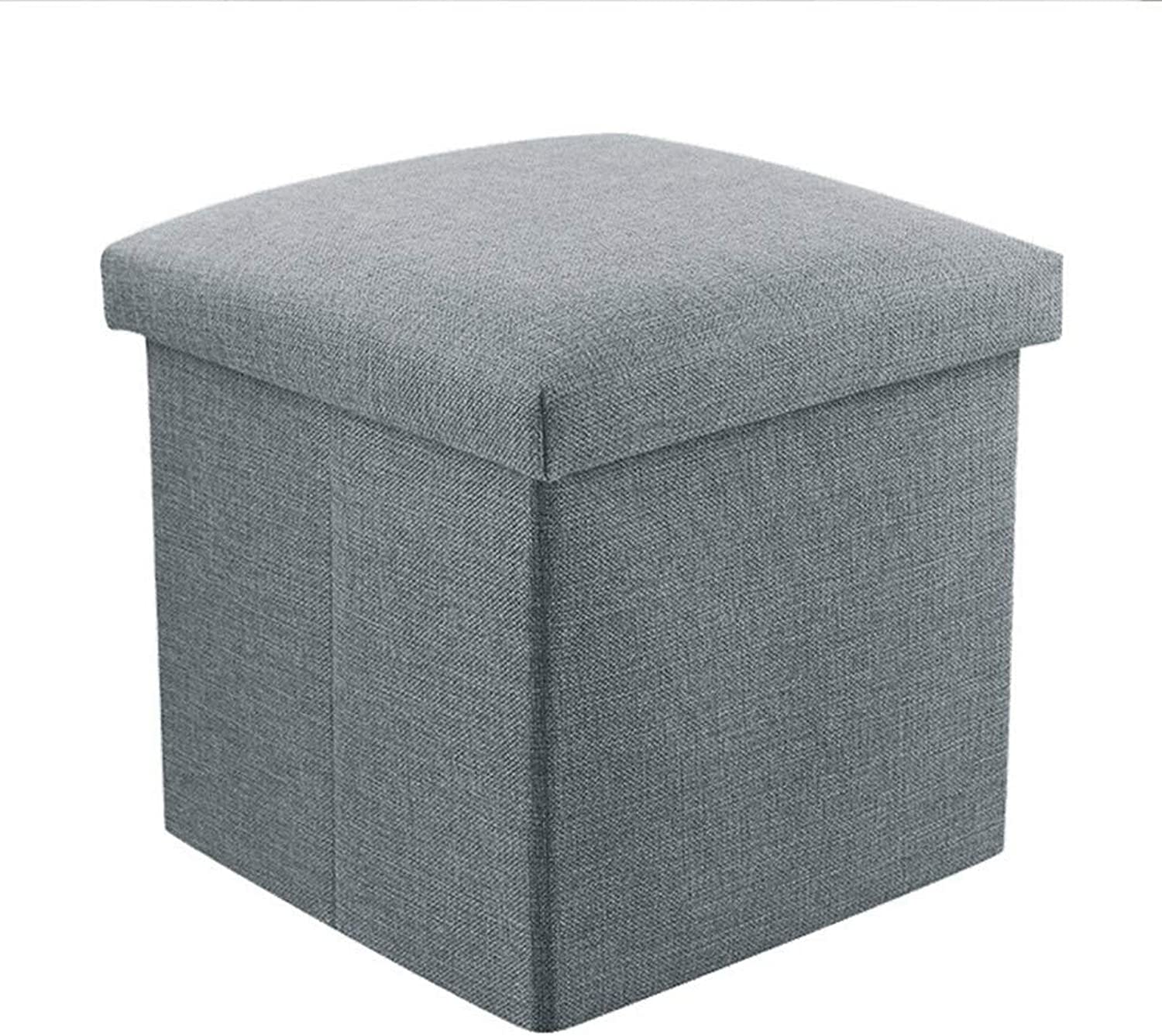 Storage Stool, Collapsible Storage Box, Fabric Footstool, Square, 30  30  30cm