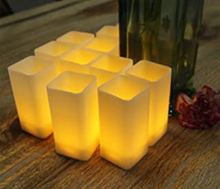 Warm White Flicker Square Led Candles Pillar For Christmas Holiday Decor Plastic Flameless Battery Operated Pretty Lights Table Centerpieces Wedding Thanksgiving Party Bright Fake Candle Window Votive