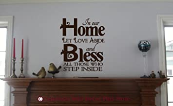 Wall Decor Plus More WDPM2640  Let Love Abide, Bless All Wall Decal Saying 23 x 20 Inch Chocolate Brown