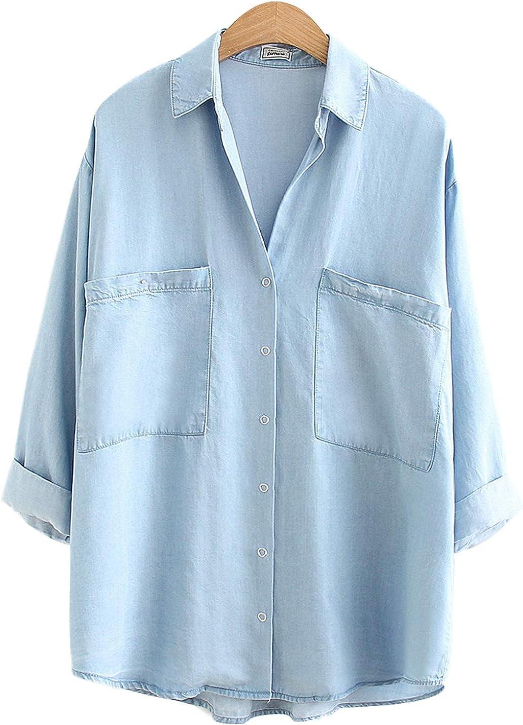 Genuine Yimoon Women's Soft Tencel Denim Button Baggy Collared Shirts specialty shop Do
