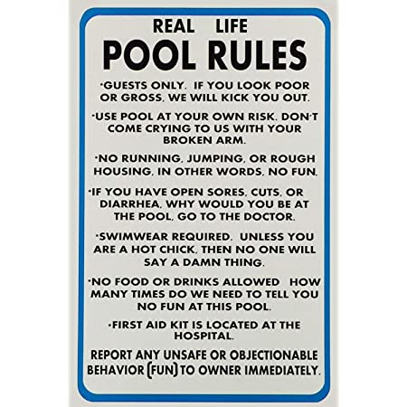 """Lilyanaen New Metal Sign Aluminum Sign Real Life Pool Rules Funny Pool Rules Sign for Outdoor & Indoor 12"""" x 8"""""""