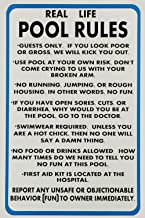 Lilyanaen New Metal Sign Aluminum Sign Real Life Pool Rules Funny Pool Rules Sign for Outdoor & Indoor 12
