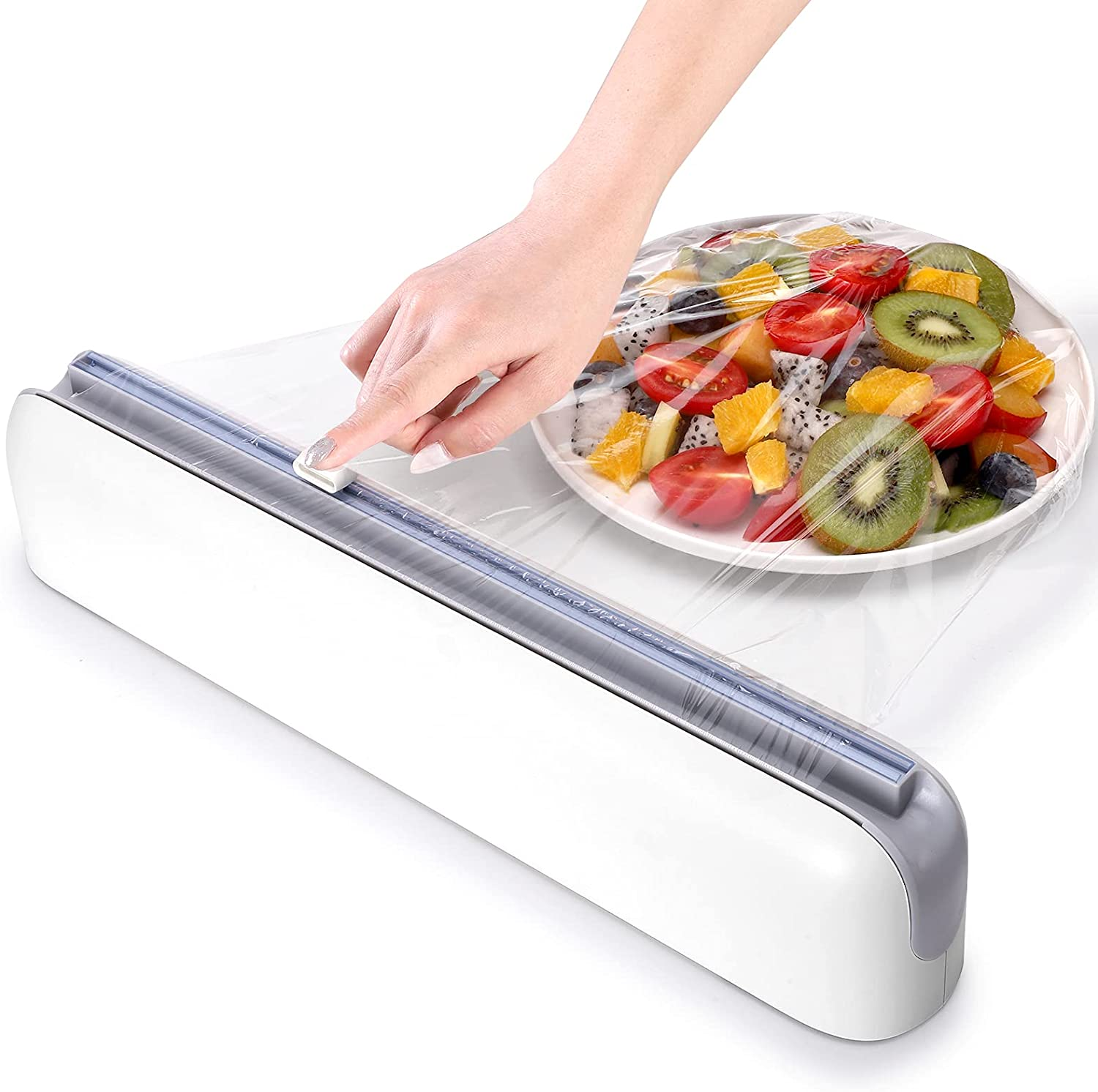 Plastic Wrap Dispenser with Cutter,Plastic Food Wrap Dispenser with Slide Cutter Refillable Cling Film Dispenser with 250' of Professional BPA Free Cling Film.