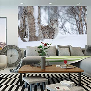 SoSung Animal Wall Mural,European Lynx Snowy Cold Forest Norway Nordic Country Wildlife Apex Predator,Self-Adhesive Large Wallpaper for Home Decor 83x120 inches,Light Brown White