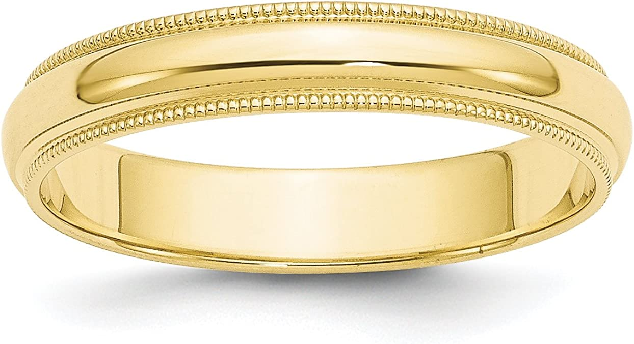 Solid 10k Yellow Selling rankings Gold 4 mm Classic Wedding R Milgrain Round Same day shipping Band