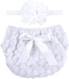 Rose Ruffle Bloomer Diaper Cover and A Flower Headband for Baby Girls Toddlers