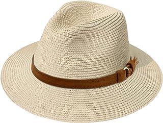 JOYEBUY Womens UPF50 Foldable Summer Straw Hat Wide Brim Fedora Sun Beach hat