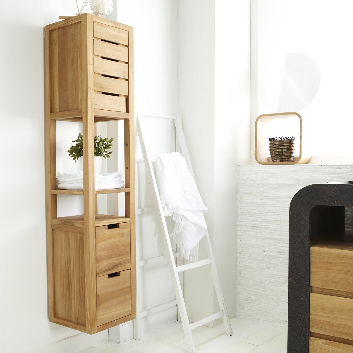Mueble de baño mueble estantería de madera de teca sin tratar la columna baño nuevo Tikamoon: Amazon.es: Hogar