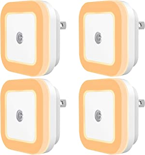 Dimmable LED Night Light, SYCEES Plug-in Nightlight with Dusk-to-Dawn Sensor for Bedroom, Kids Room, Bathroom, Kitchen, Hallway, Warm White, 4-Pack