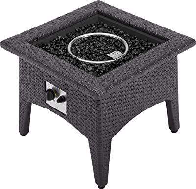Modway Vivacity Wicker Rattan Square Propane Gas Fire Pit Table