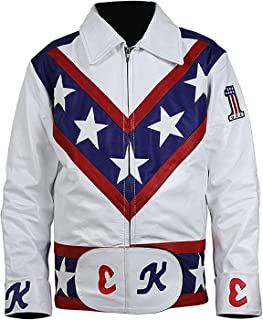 Mens Evel Daredevil White Knievel Leather Costume Jacket