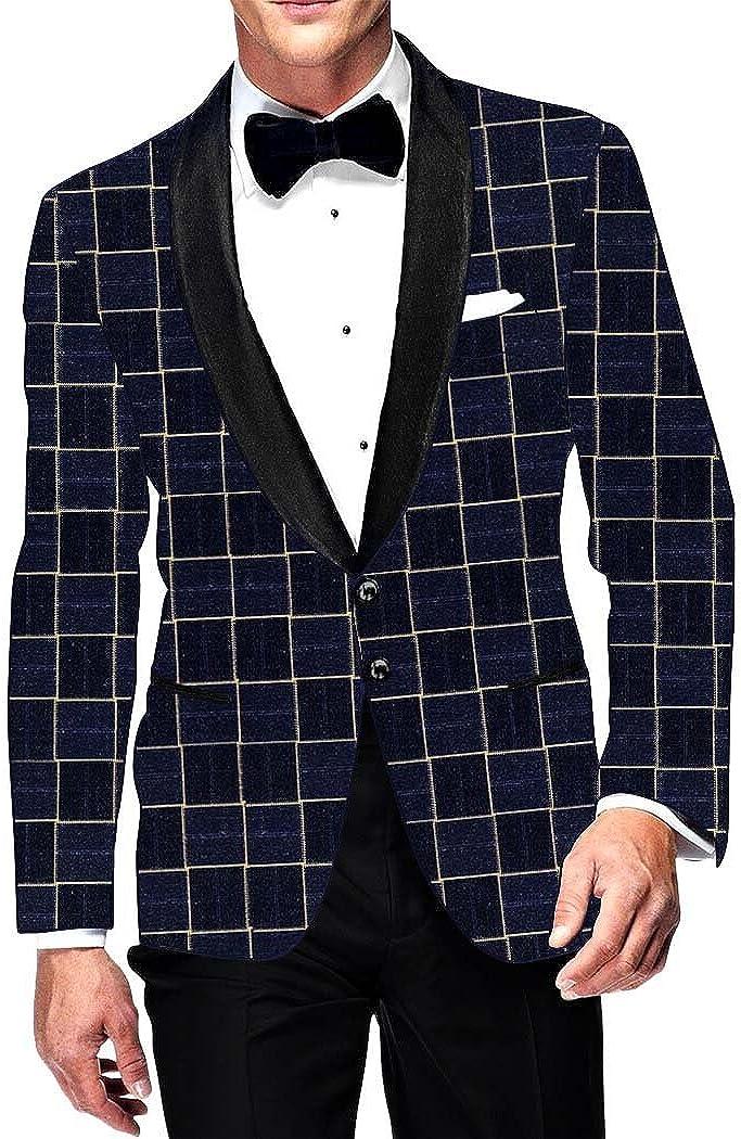 INMONARCH Mens Slim fit Casual Navy Blue Checks Blazer Sport Jacket Coat Bollywood SB15436