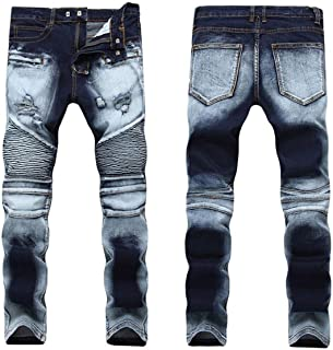 mydeshop Men Distressed Destroyed Ripped Straight Fit Hole Jeans Denim Pant