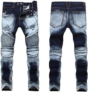 WSPLYSPJY Mens Slim Vintage Distressed Motorcycle Jeans Runway Biker Denim Jeans
