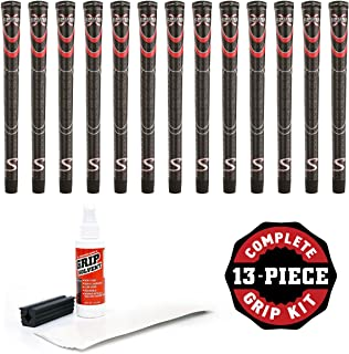 SuperStroke Cross Comfort Black/Red Midsize - 13 Piece Golf Grip Kit (with Tape, Solvent, Vise clamp)