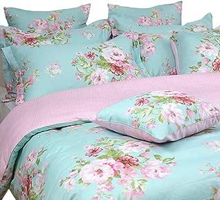 FADFAY Shabby Floral Duvet Cover Set Pink Grid Cotton Farmhouse Bedding with Hidden Zipper Closure 3 Pieces, 1duvet Cover & 2pillowcases,Queen Size