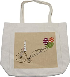 Ambesonne Easter Shopping Bag, Bunny on Retro Bike with Easter Egg Shaped Colorful Balloons Cartoon Print, Eco-Friendly Reusable Bag for Groceries Beach and More, 15.5