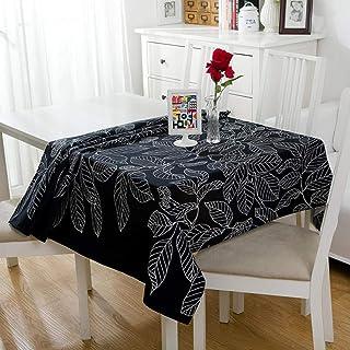 GTWOZNB Mesa de Comedor Lavable Cubierta de Lino de Tela con Moda de Hojas Impresas-Armada_El 140X140CM