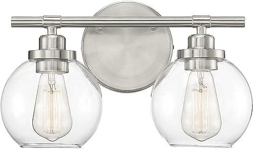 "Savoy House 8-4050-2-SN Carson Satin Nickel 2-Light Bathroom Vanity Light (14"" W x 9""H)"