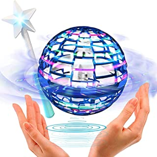 Flying Ball Toys,Globe Shape Magic Controller Mini Drone Flying Toy, Built-in RGB Lights Spinner 360° Rotating Spinning UF...