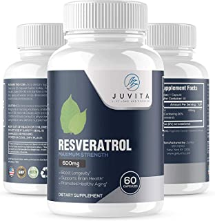 Juvita Resveratrol Supplement 1200mg, Pure Organic Polyphenol from Japanese Knotweed, Trans Resveratrol, Anti-Aging Antiox...