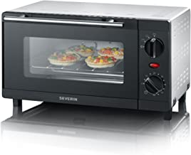 SEVERIN Mini-Four 9 L avec grille et plaque de cuisson incluses, Four posable 800 W design simple et élégant, Mini-four él...