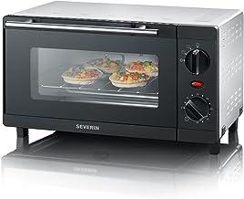 SEVERIN Mini-Four 9 L, Inclus : Grille et Lèche frites, Minuteur 60 min, 800 W, Noir/Inox, TO 2052