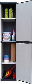 comprar comparacion Adventa - Armario de resina de 1 puerta con estantes regulables (interior/exterior), gris/negro, 34 x 39,5 x 85 cm