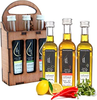 Pellas Nature | Organically Infused Olive Oil Set | Finishing Oil | Lemon | Red Pepper | Oregano | Wooden Gift Set | 3 X 1.7oz Bottles