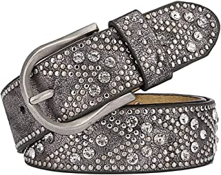 Dress Belts for ladies Fashion Cool Rivet Rhinestone Belt (Color : Silver gray)