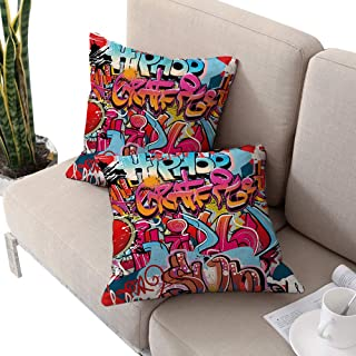 Michaeal Graphic Square IKEA Pillow Covers,Hip Hop Street Culture Harlem New York City Wall Graffiti Art Spray Artwork Image Multicolor W14 xL14 2pcs Cushion Cases Pillowcases for Sofa Bedroom Car