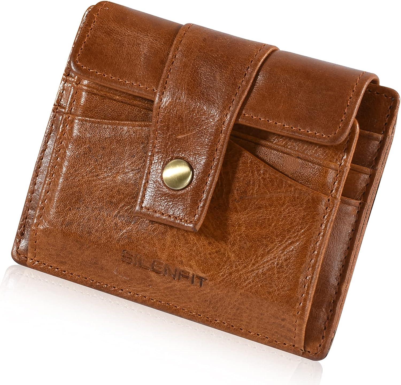 Mens Wallet Slim Genuine Leather RFID Thin Bifold Wallets For Men Minimalist Front Pocket ID Window Card Holders Gift Box