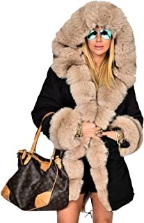 Womens Hooded Camouflage Warm Winter Coats Faux Fur Jacket Parka Overcoat
