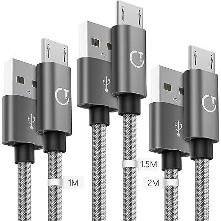Gritin Cable Micro USB 3 Pack-1M/1.5M/2M,Carga Rápida Trenzado de Nylon Cargador Micro USB para Galaxy, Kindle, Nexus y más