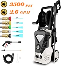 ROOJER 1800W Electric Pressure Washer High Pressure Power Washer Machine Car Washer with Power Hose Gun Turbo Wand 5 Interchangeable Nozzles Max 3500 PSI 2.6 GPM ?US Stock? (Black White)