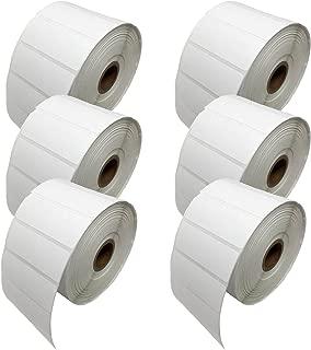 Shop4Mailers 2000 卷白色标签 2.54 cm x 2.65 cm Zebra 兼容 6 Rolls 白色