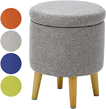 "HIGOGOGO Round Storage Ottoman with Legs, Large Cotton Linen Foot Rest Stool with Removable Lid, Tufted Footstool Coffee Table for Living Room Bedroom Home, Grey, 17.7""x14.5""x14.5"""