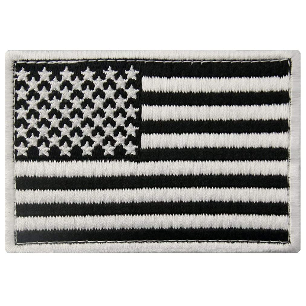Tactical American Flag Patches Embroidered USA Badge United States of America Applique Military Fastener Hook & Loop Emblem, White & Black