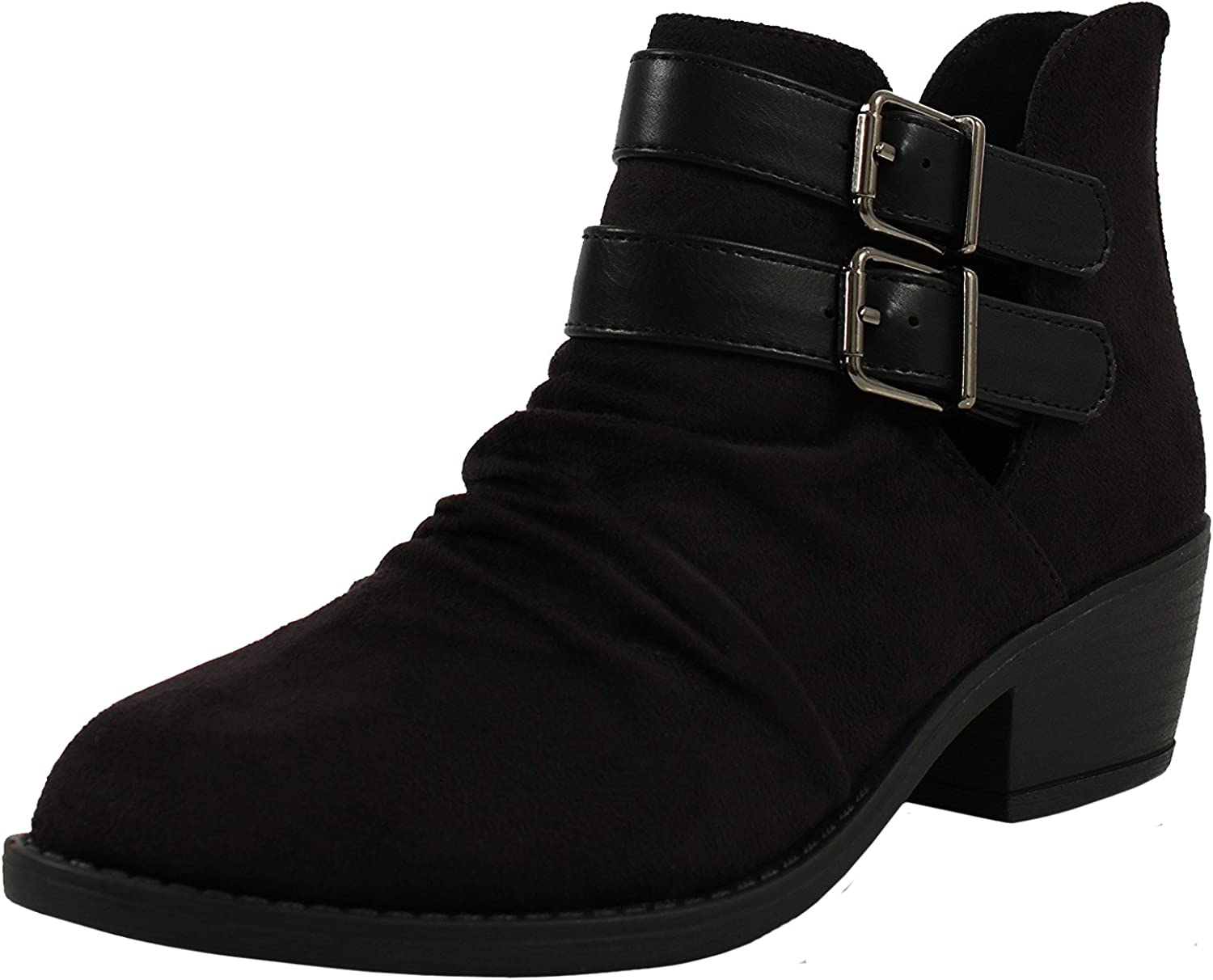 Soda Women's Verity Ruched Cut Out Side Double Buckle Side Stacked Heel Ankle Bootie