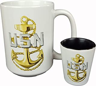 Navy Chief Petty Officer (CPO) Coffee Mug and Shot Glass - Gift for Navy Veteran (15 oz Mug w/Shot Glass, White)