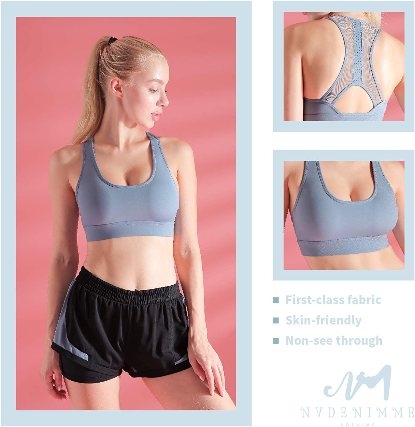 NVDENIMME Colorful Sports Bra for Women Seamless Quick Dry Workout Yoga Top with Medium Support