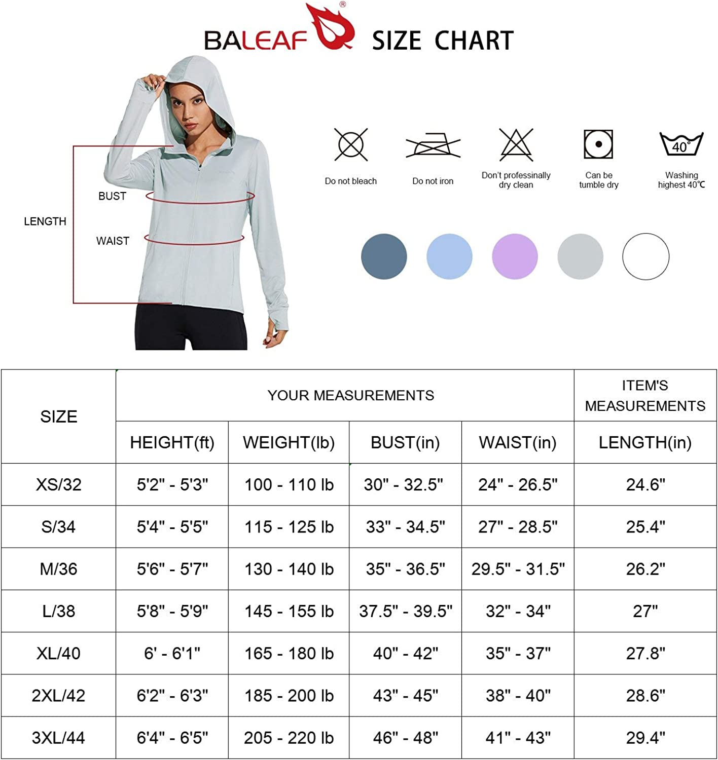 UV Protection Jacket Hooded Sun Shirt with Pockets Hiking Outdoor Performance BALEAF Womens Full Zip UPF 50